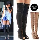 LADIES WOMENS THIGH HIGH LACE UP PLATFORM BOOTS KNEE HIGH HEEL SHOES SIZE