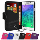 LEATHER FLIP WALLET CASE COVER FOR SAMSUNG GALAXY ALPHA WITH SCREEN PROTECTOR