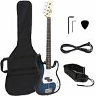 Blue Electric Bass Guitar Includes Strap, Guitar Case, Amp Cord and More