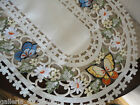 "Butterfly White Lace Table  Runner  27""  Doily Daisy Flower Butterflies Floral"