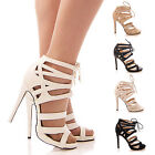 LADIES WOMENS LACE UP HIGH HEELS PLATFORM SHOES PARTY GLADIATOR SNAKE SIZE