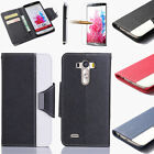 PU Leather Flip Cover Stand Wallet Case For LG G3 G4 + Protector + Stylus Pen