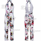 AQ20 Womens Floral Halter Neck Jumpsuit Ladies Summer Holiday One Piece Suit