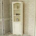 Cream wooden corner display unit shelves country chic cupboard lounge SECOND 415