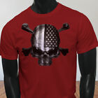 4th of July Independence day USA Flag Skulls Rebel Mens Red T-Shirt