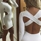 Sexy Women Backless Bodycon Long Sleeve Evening Party Cocktail Mini Dress S-XXL