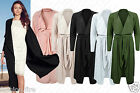 Womens Ladies Celeb Belted Crepe Open Long Waistcoat Textured Cardigan Jacket