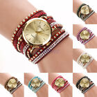 Bling Rhinestone Geneva Faux Leather Strap Bracelet Analog Quartz Wrist Watch