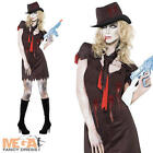 Sexy Zombie Gangster Ladies 1920s Halloween Fancy Dress Womens Costume + Hat