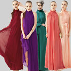 Womens Chiffon Ruffle Neck Sleeveless Ladies Evening Ball Gown Boho Maxi Dress