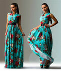 Womens Vintage Bohemia Green Flowers Floral Sleeveless Boho Cocktail Maxi Dress