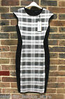 Karen Millen White Black Check Print Midi Bodycon Knit Bandage Dress 10 - 12 New