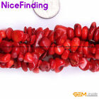 """Natural Stone Chips Beads Jewelry Making Necklace Bacelet Freeform 34""""Red Coral"""