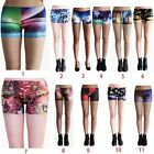 Women 3D Colorful Stretch Slim Tight Hotpants Shorts DK