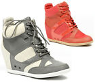 HIGH TOP FASHION SNEAKERS WEDGE ANKLE BOOT BOOTIE WILD DIVA BUBBLE-11 GRAY PINK