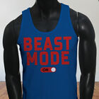 Workout Gym Muscle Lifting Beast Mode ON Mens Blue Tank Top