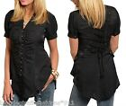 Black Lace-Up Back Button Front Short Sleeve Top S M L