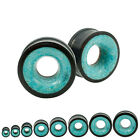 Pair Organic Black Wood Plugs Double Saddle Flare Tunnel Crushed Turquoise Inlay