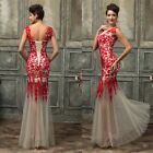 PLUS SIZE RED Long Evening Formal Wedding Bridesmaid Ball Gown Prom Party Dress[