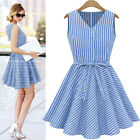 S - XXL Summer Women Sleeveless Blue White Striped Slim Waist Casual Mini Dress