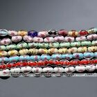 1 Strand Lampwork Glass Flower Oval Foil Loose Beads Womens Jewelry Findings DIY