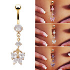 New Sexy Surgical Steel Butterfly Crystal Rhinestone Navel Belly Button Bar Ring