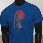 Sword Japanese Samurai Anime Red Moon Mens Blue T-Shirt