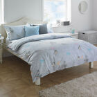 Paoletti Tweet Bird Butterfly Grey Cotton Percale Duvet Quilt Cover Bedding Set