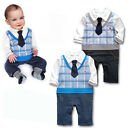Free Shipping Boy Baby Formal Suit Set Romper Pants 0-24M Onepiece Jumpsuit