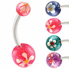 steel belly button navel ring bar glitter ball piercing 9JDQ-CHOOSE STYLE&SIZE