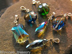 Silver plated faceted crystal pendant teardrop rainbow coated christmas gift