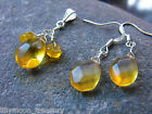 Teardrop faceted glass earrings cluster pendant set yellow christmas gift