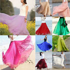 Women Girl Double Layer Chiffon Pleated Maxi Dress Elastic Waist Long Maxi Skirt
