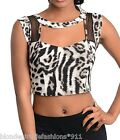 Gray/Black Leopard Print Cut-Out Sweetheart Cropped Sleeveless Top S M L