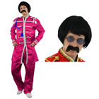 PINK SERGEANT PEPPER FANCY DRESS COSTUME WITH WIG, TASH + GLASSES 1960S ROCK
