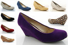 NEW LADIES WOMENS LOW WEDGE PLATFORM MARY JANE COURT SHOES FAUX SUEDE