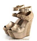 Gold Taupe Dress to Impress Mixed Texture Tall Sexy Wedge Sandals Mod Mary Jane