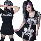 Women's White Skeleton Bones Flare Dress Kreepsville Gothic Horror Fashion