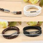 Interlaced Leather Braided Weave Clasp Cuff Wristband Bangle Bracelet Men Womens