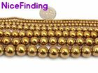 "Round Gold Hematite Beads For Jewelry Making Gemstone Loose Beads 15"" Size Pick"