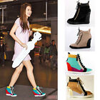 Womens High Top Suede Leather Lace Up Side Zip Wedge Sneakers Ankle Boots Shoes