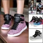 Womens Lace Up Casual Shoes High Top Wedge Heel Boots Athletic Velcro Sneakers