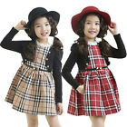 Dress Girls Scottish Plaid Ruffle Scotland Check Nova Lattice Tulle Belt Dresses