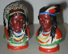 1950's Indian and Squaw Souvenir Salt & Pepper Shakers - Made in Japan 2.5""