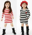 Girls Kids Top Eyes Stripe Dress Age2-7Y Long Sleeve School Party Casual Clothes