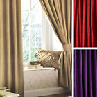 Catherine Lansfield Faux Silk Eyelet Ring Top Curtains With Tiebacks