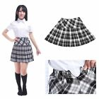 Women Plaid School Girl Short Skirt Pleated Plaids Checks Elastic Waist Tartan
