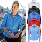 Ladies Girls Smart Long Sleeve Work Shirt Blouse Fitted Office School Formal