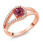 0.85 Ct Round Pink Tourmaline AAA 18K Rose Gold Plated Silver Ring