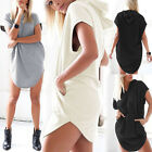 New Sexy Women's Loose Hoodie T Shirt Tops Short Sleeve Mini Dress Casual Blouse